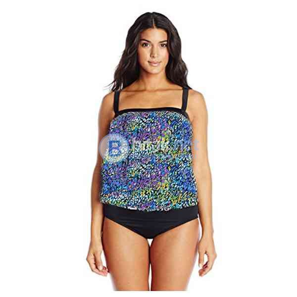 2XL-18 размер, Дамски дизайнерски бански в черно и лилаво, ляти дунапренови чашки, марка  maxine of