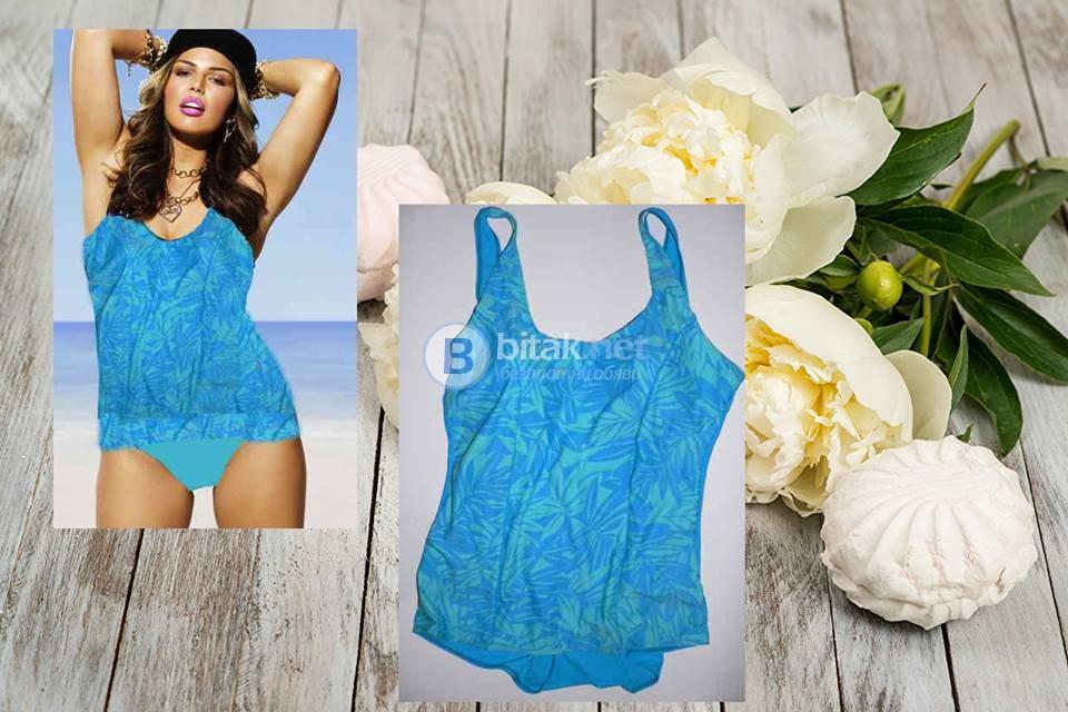 2XL/3XL -24W размер, Голям размер дамски бански , цял бански рокля в синьо, стягащ ефект, - 45 лева