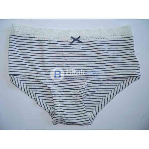 S размер, английски дамски бикини, памучни бикини на райе в синьо и бяло, марка Next,