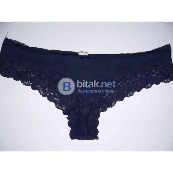 XL размер, памучни бикини в тъмно синьо с дантела, марка C&A