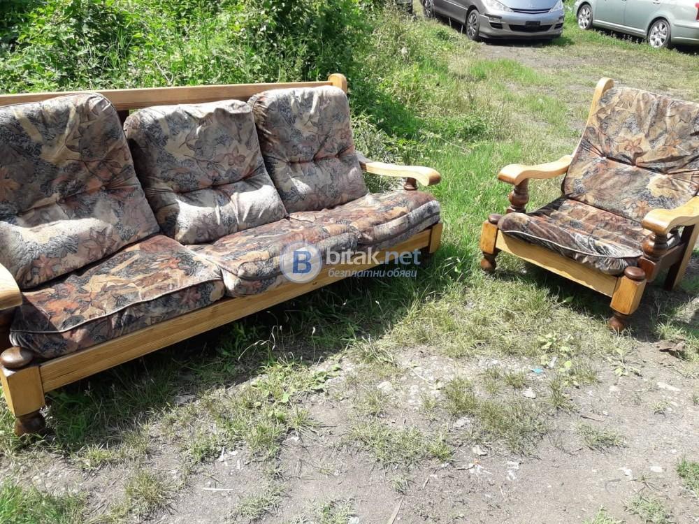 Диван + фотьойл - дъб - реставрирани!!!