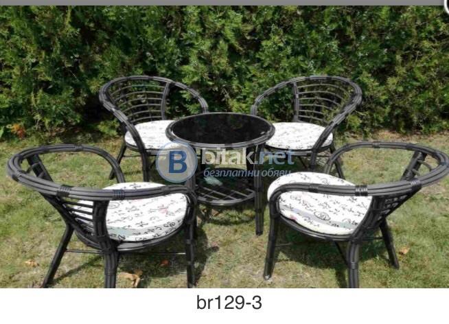 Комплект маса и столове от изкуствен еатан