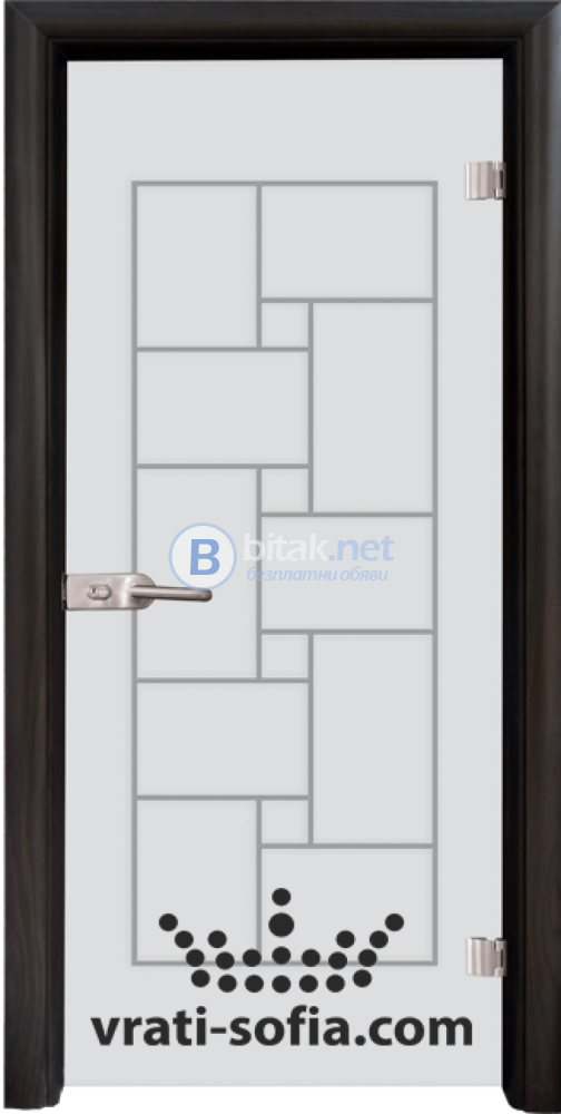 Стъклена интериорна врата, Gravur G 13-7, каса Венге
