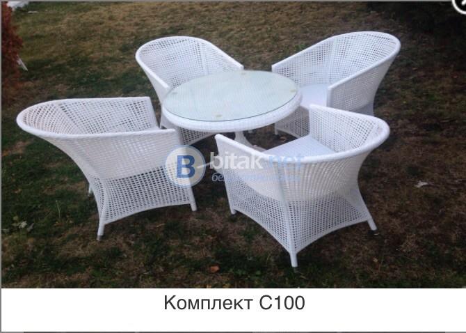 Комплект ратанови мебели в  бял цвят