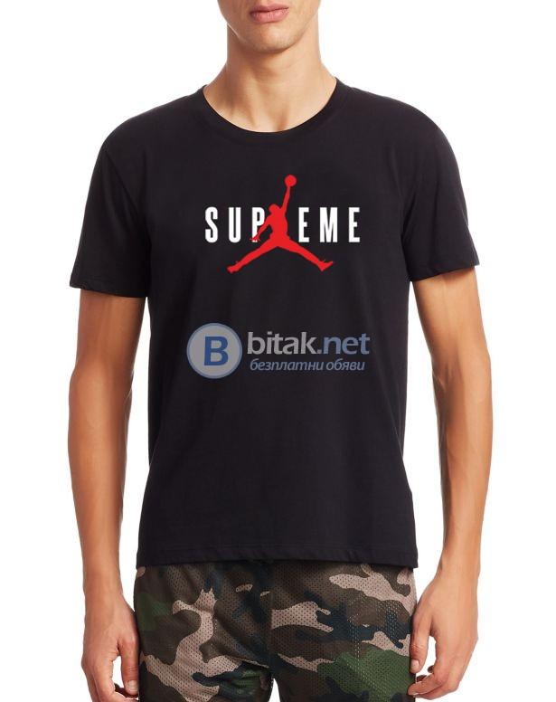 NEW 2018! Мъжки тениски с SUPREME JORDAN NIKE принт реплика. Поръчай с ТВОЯ идея!