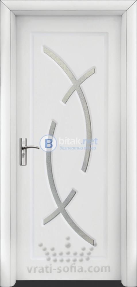 Интериорна HDF врата с код 056, цвят Бял