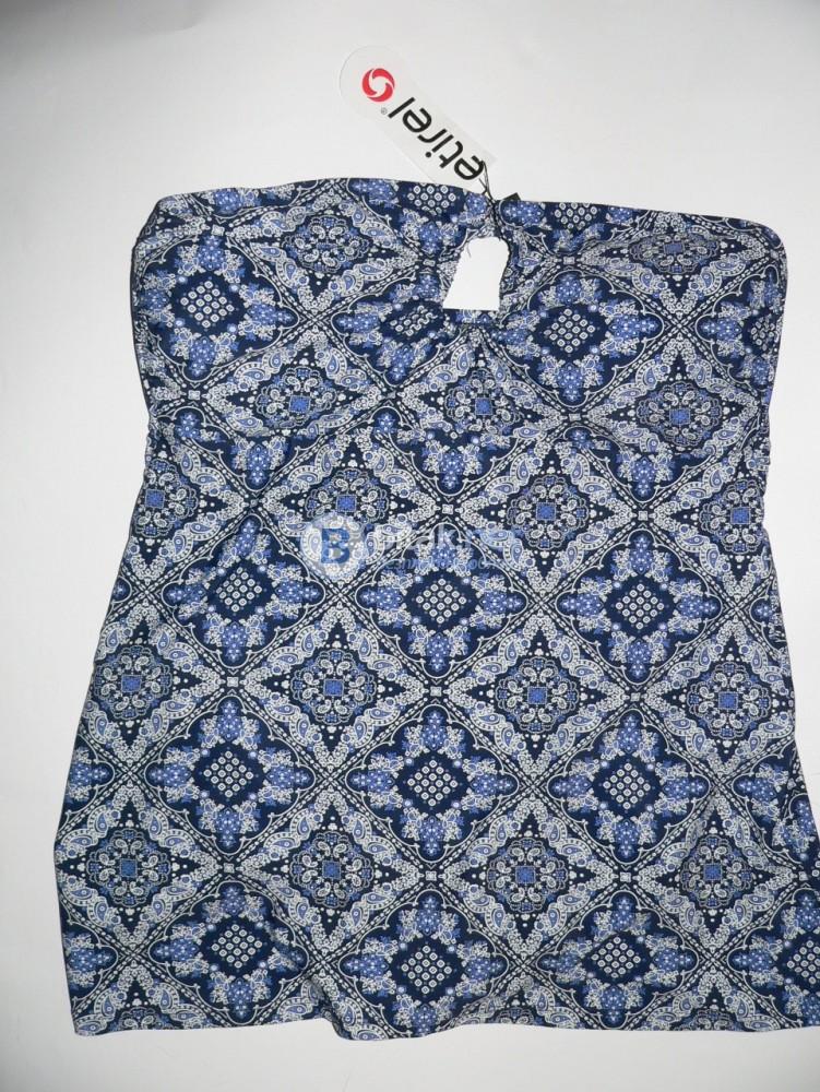 2XL размер, дамски бански рокля в синьо и бяло, дунапренови махащи чашки, тип бандо без презрамки