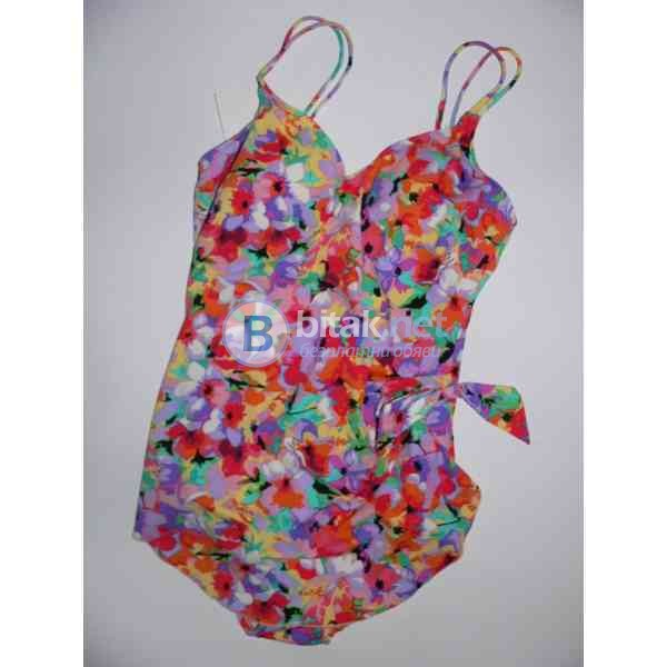 L -14 размер, Дамски дизайнерски бански в оранжево на цветя, ляти дунапренови чашки, бански рокля, s
