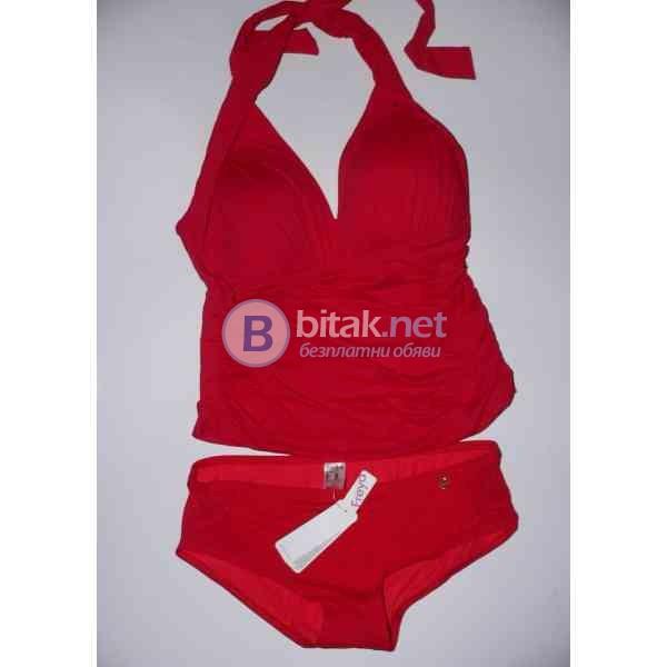 Л размер, Дизайнерски бански танкини в червено, дунапренова чашка,, марка La Blanca , подарък бикини