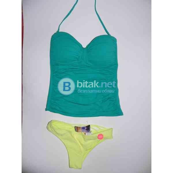 S/M -8 размер, Дизайнерски бански танкини в зелено, тип бандо с махаща се презрамка,  марка La Blan