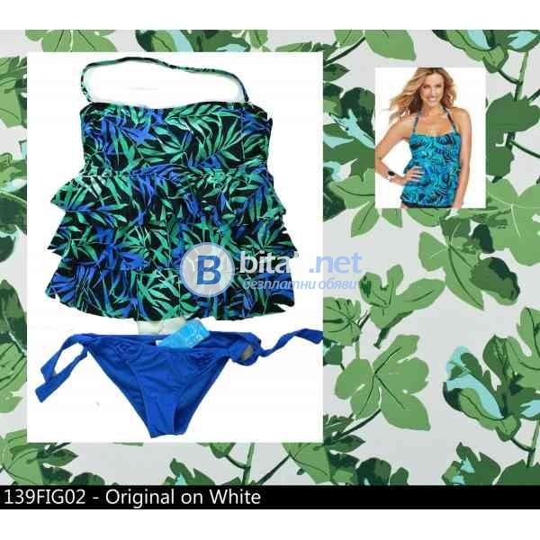 L/XL размер,  дамски бански  танкини в синьо с волани, марка Island escape, tiered ruffle top,  пода
