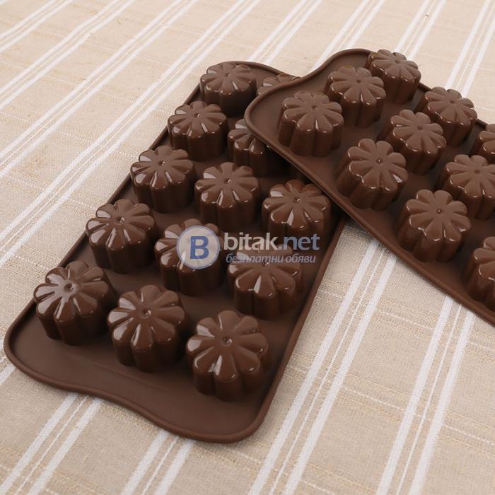 Силиконова форма за шоколадови бонбони сладки декорация различни модели