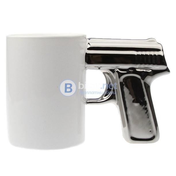"""Керамичен пистолет чаша сребърен """"стрелец"""