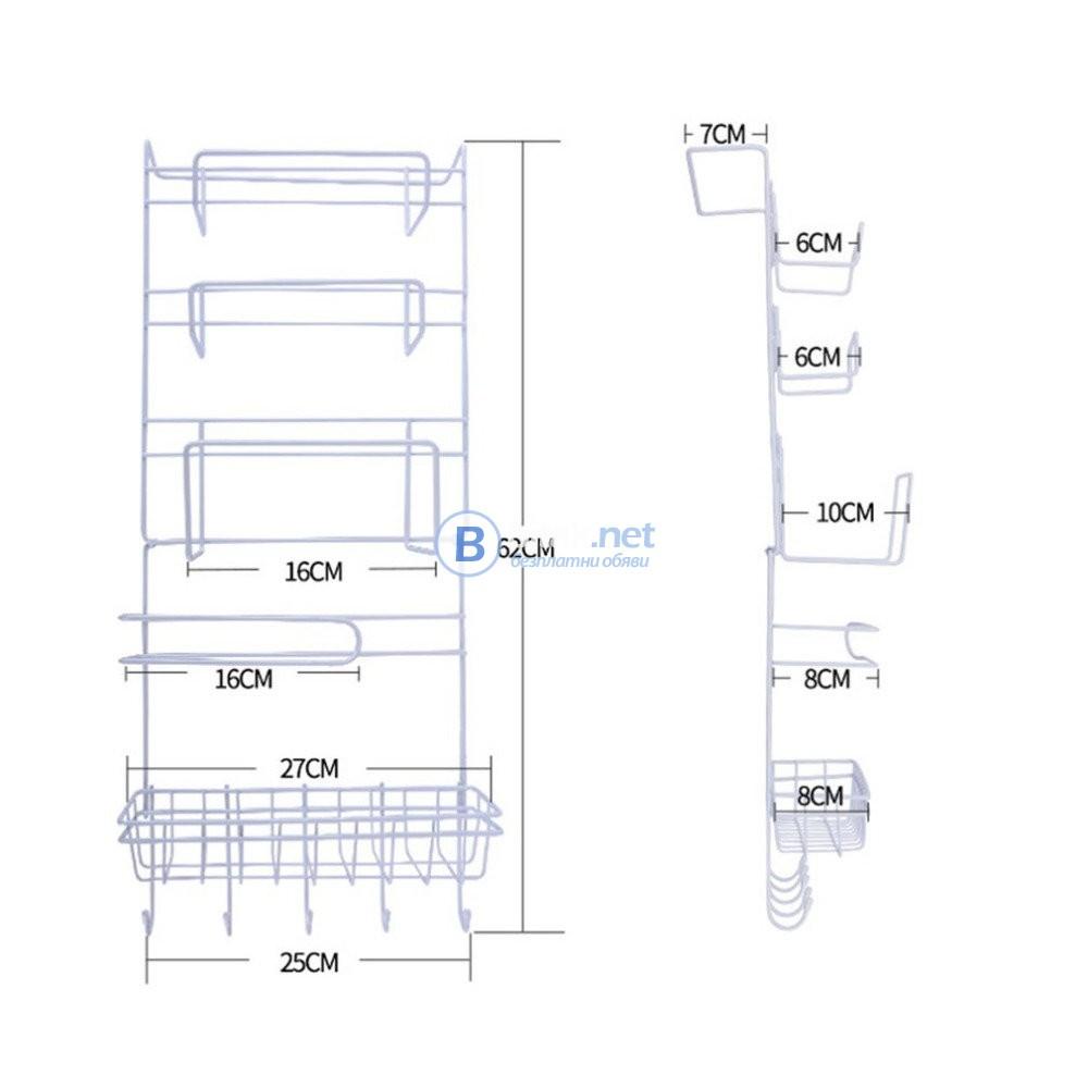 Поставка висящ органайзер за хладилник сгъваема метална етажерка с 6 нива