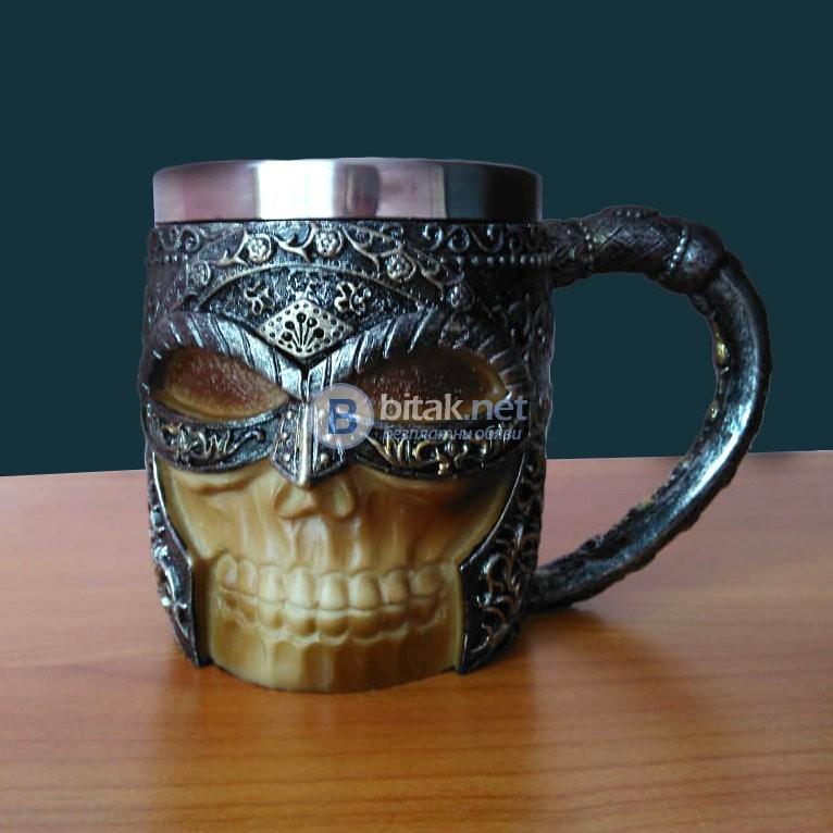 Масивна 3D чаша череп войн оригинален подарък за мъж 350мл