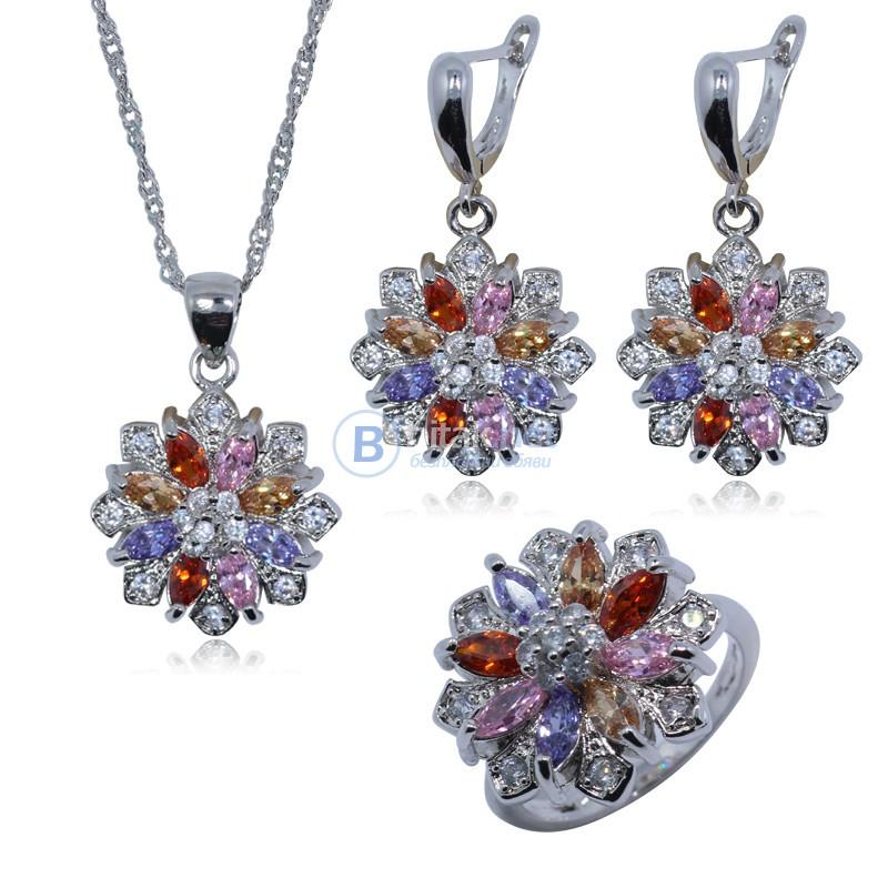 Сребърен комплект с австрийски кристали