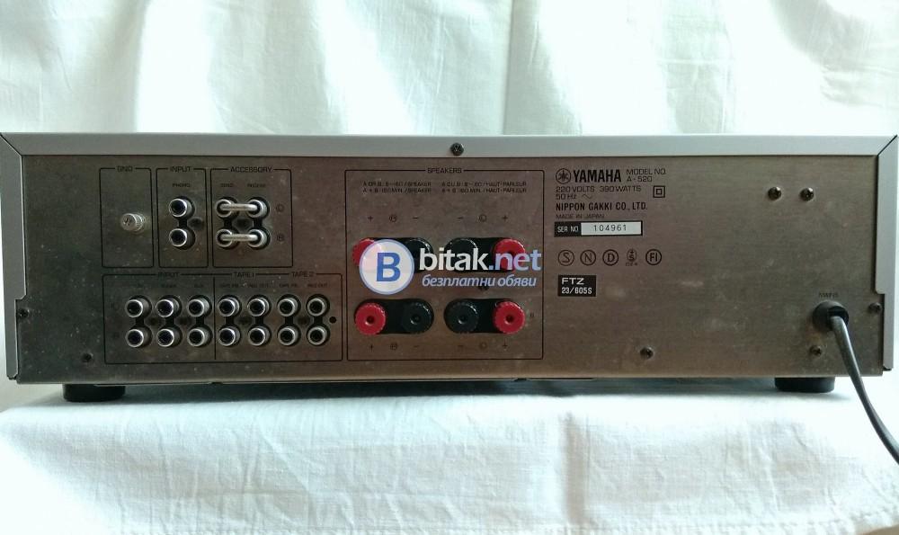 YAMAHA A-520, качествен и красив ретро транзисторен усилвател, 2х75 вата