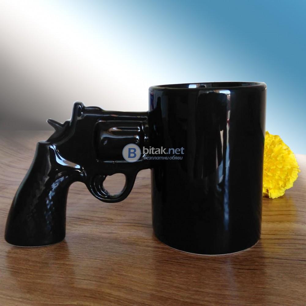 Забавна чаша с дръжка пистолет подарък за мъж настандартна чаша за чай