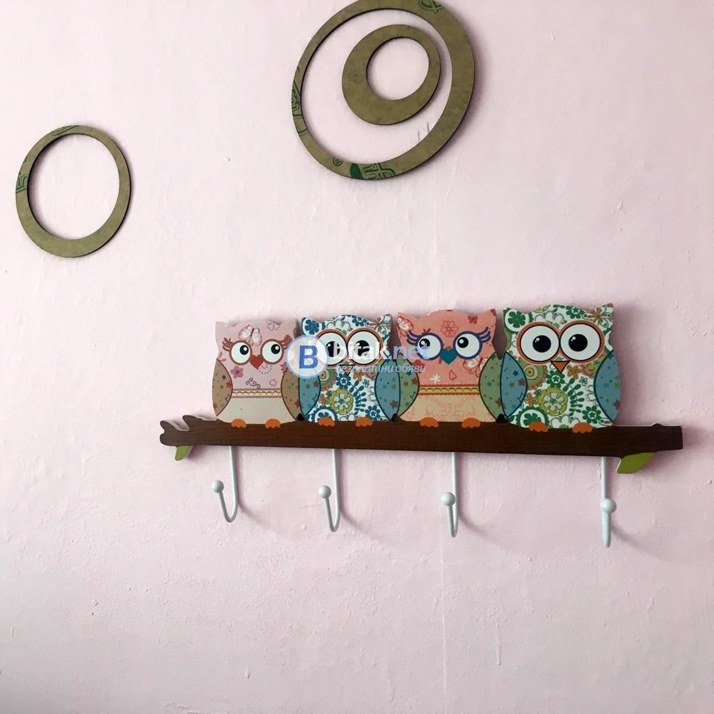 Дървена закачалка Бухалчета закачалка за стена с 4 куки за закачане