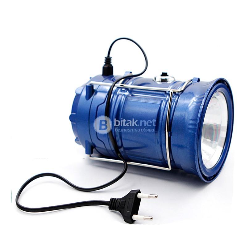 Сгъваем соларен фенер за градина къмпинг лампа с дръжка 5 Led диода + 1W