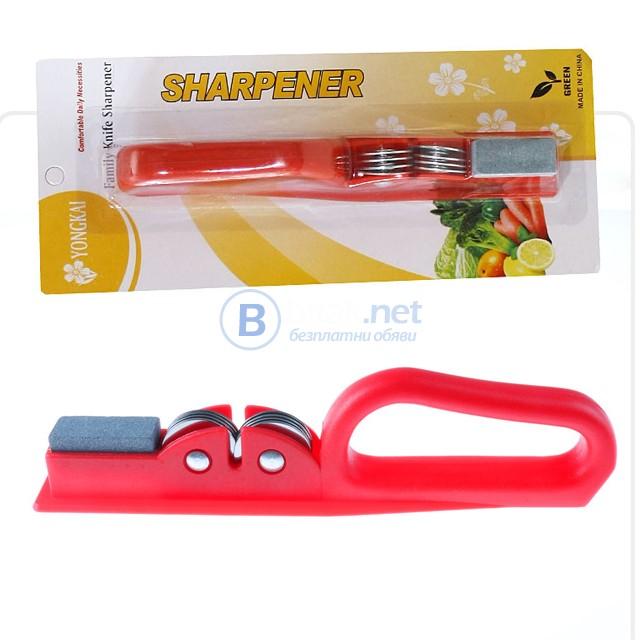 Ръчен уред с брус точило за заточване на ножове и ножици