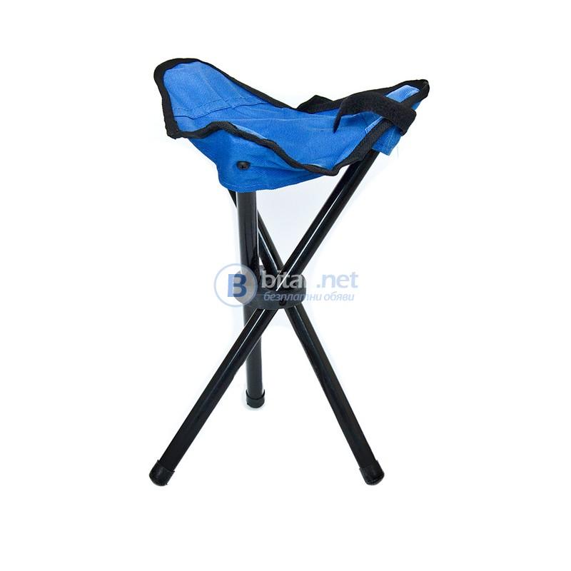 Мини рибарско столче на три крака сгъваем къмпинг стол