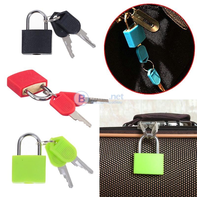 Малък катинар за куфар с два ключа катинар за багаж раници и сакове