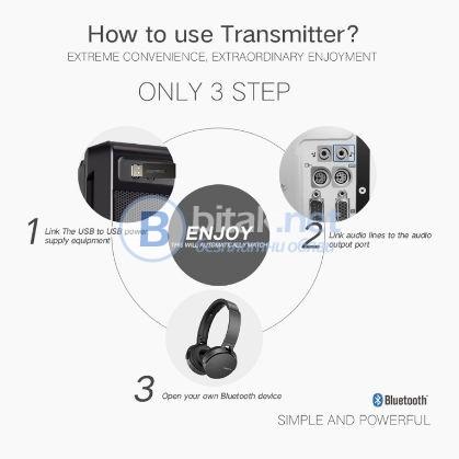 USB безжичен Bluetooth стерео предавател 5V 3.5mm