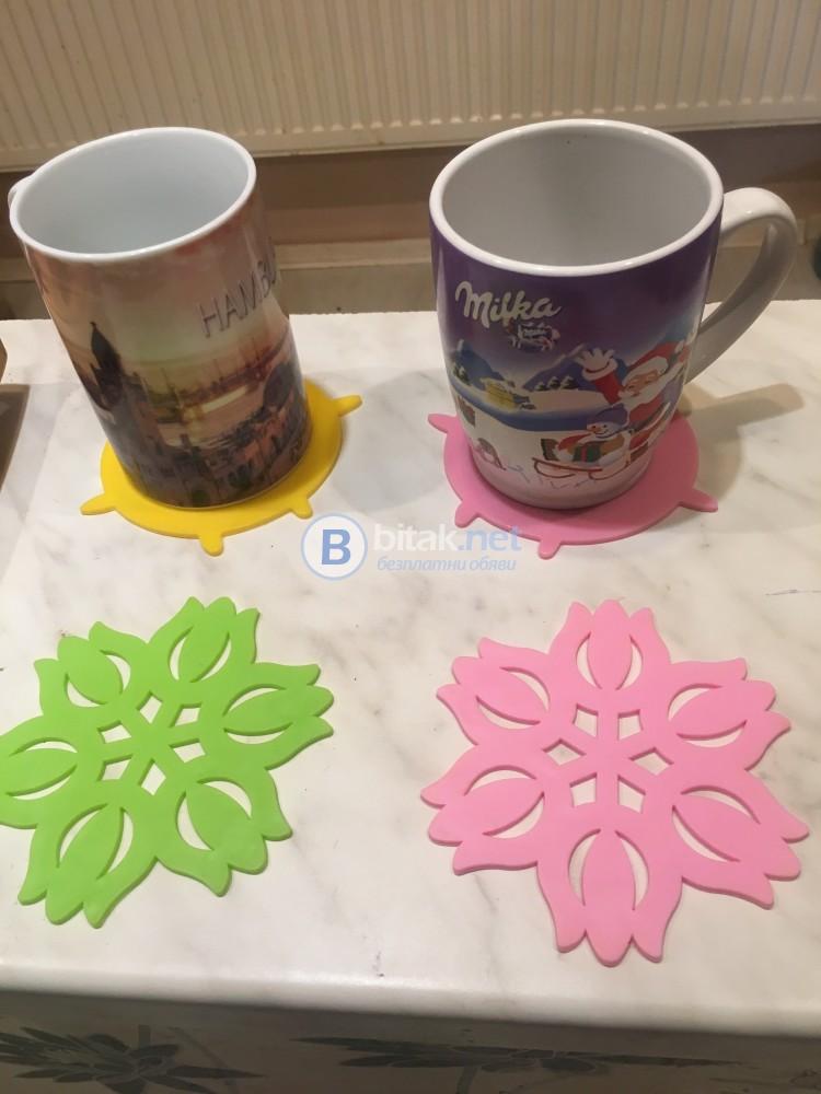 Комплект силиконови подложки за чаши в различни форми