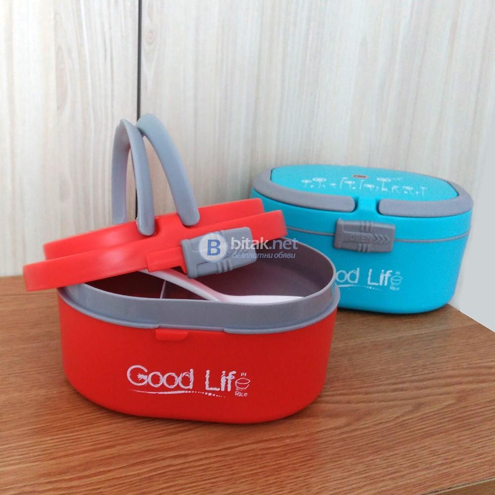 Кутия за обяд с 3 отделения и лъжичка кутия за храна Lunch box