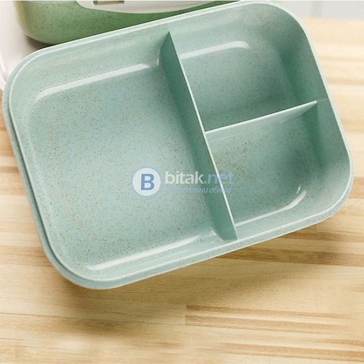 Кутия за храна с 3 отделения и лъжичка кутия за обяд с прегради Lunch box