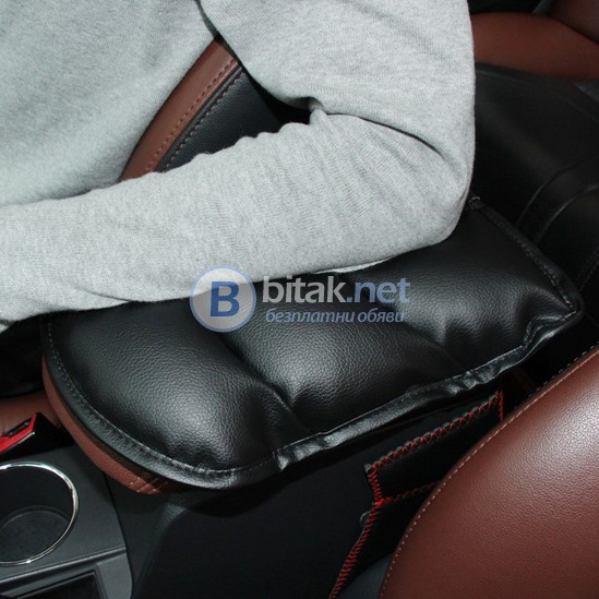 Черна кожена възглавничка за подлакътник на автомобил авто аксесоари