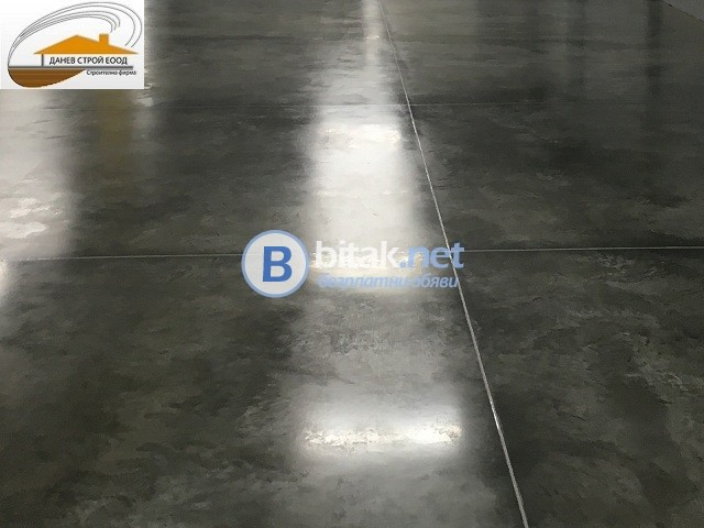 Направа на шлайфан бетон, ресан бетон, шлайфане на плочи