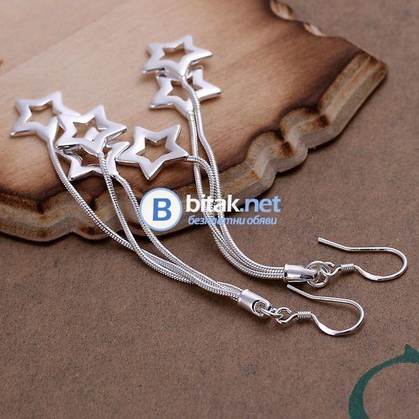 Комплект бижута 925 със сребърно покритие обеци лотове