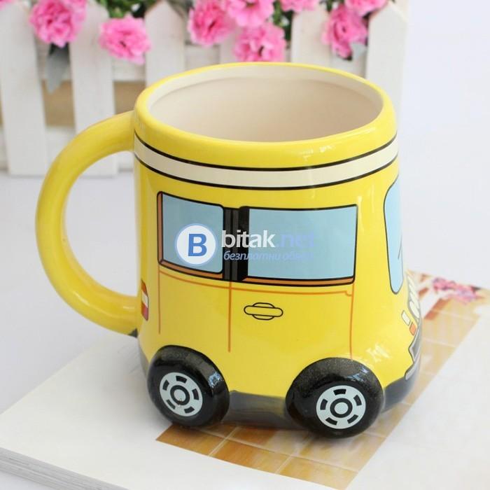 Забавна детска керамична чаша за чай Автобус 500мл
