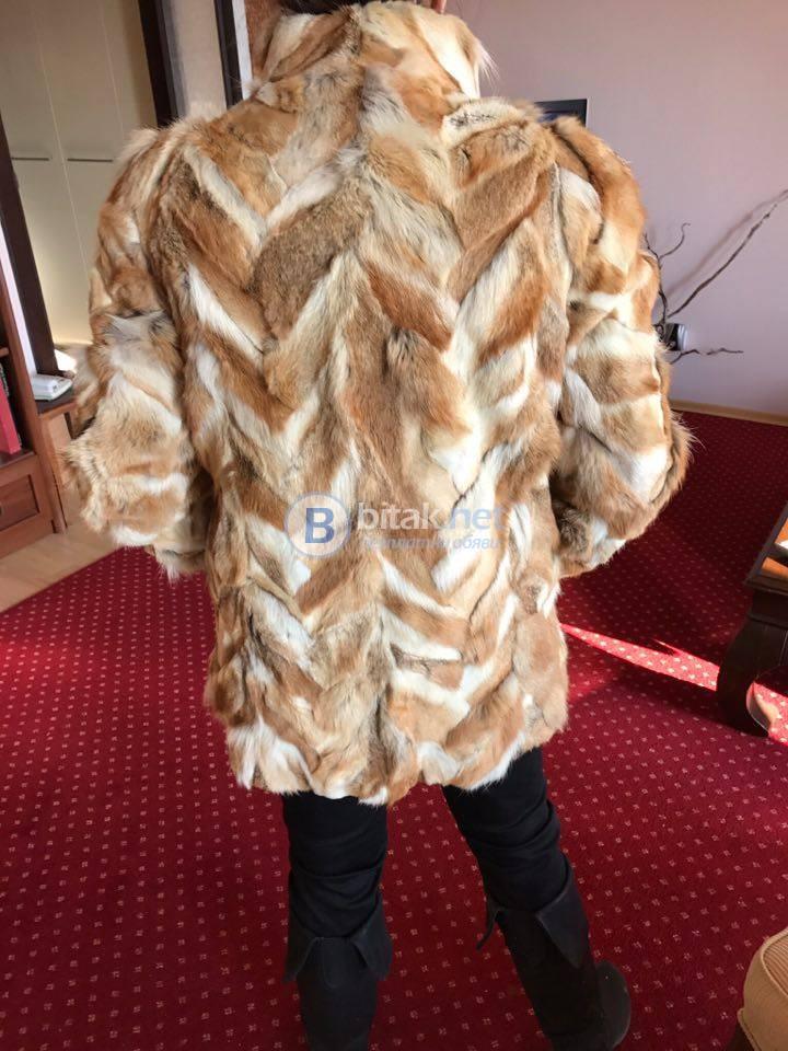 Късо кожено палто от лисица