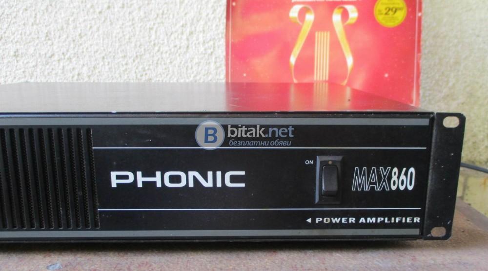 PHONIC MAX-860 – Професиоално стъпало,мощно 2Х300 вата на 4 ома и 3Х200 вата на 8 ома.