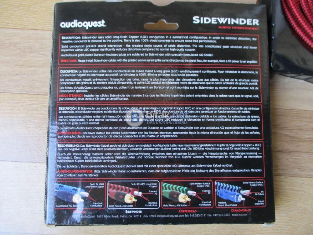 AudioQuest – Sidewinder – Качествен интерконект с посока и позлатени чинчове.
