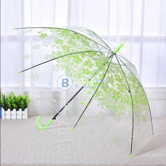 Автоматичен голям дамски чадър за дъжд прозрачен с принт на цветя 102см диаметър