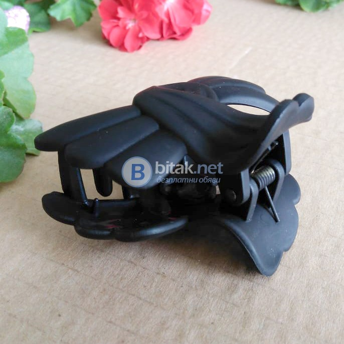 Дамска шнола за коса Панделка матирано черна щипка за коса