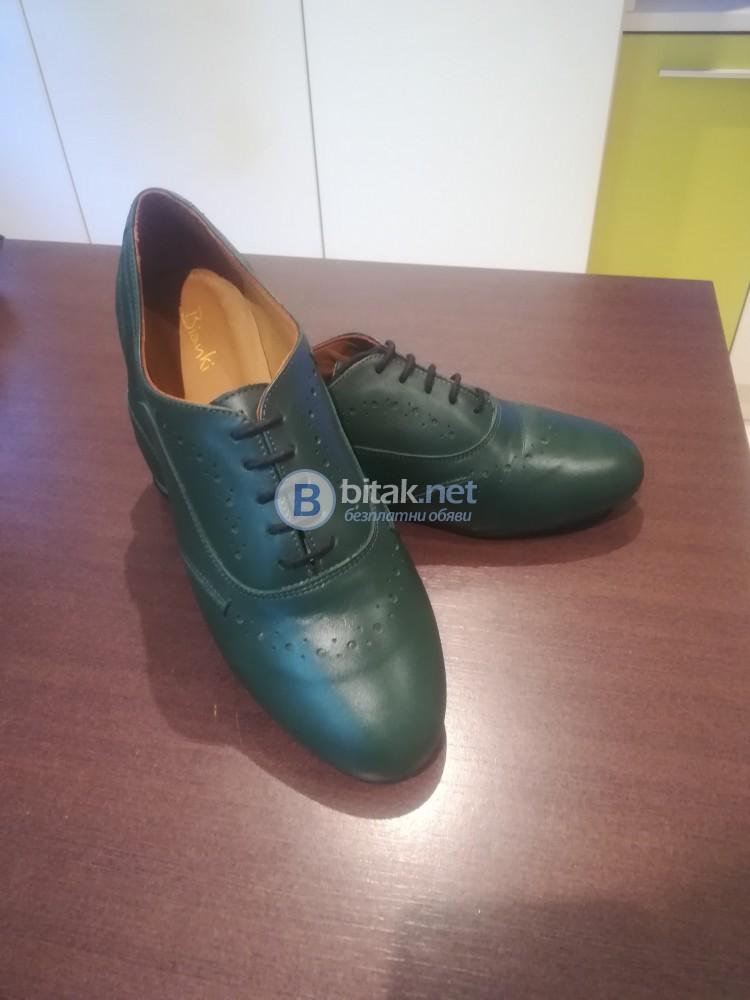 Дамски обувки Bianki естествена кожа - тъмно-зелени