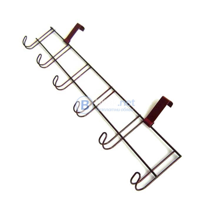 Телена закачалка органайзер, 6 куки за закачане, 49см