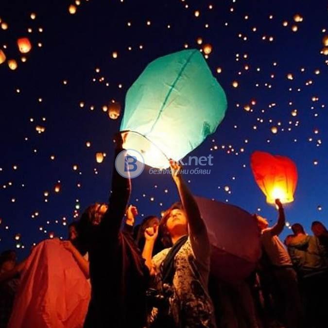 Китайски летящ фенер размер 38x70x95cm розов и син цвят летящи фенери