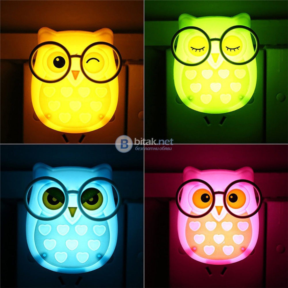 Детска нощна лед лампа за контакт Бухалче лампа за стена с копче 1W