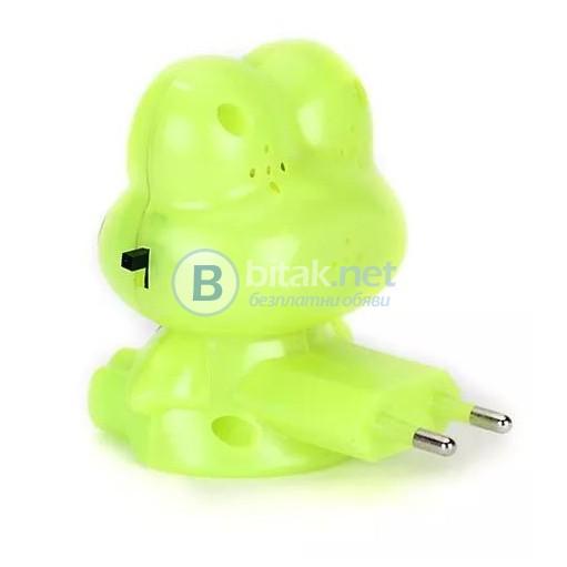 Детска нощна лед лампа за стена Жабка лампа за контакт с копче 1 W