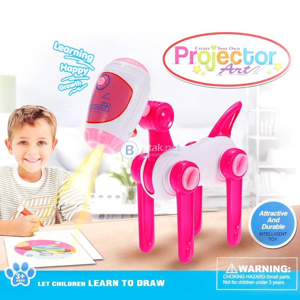 Детски комплект за рисуване с проектор робот куче