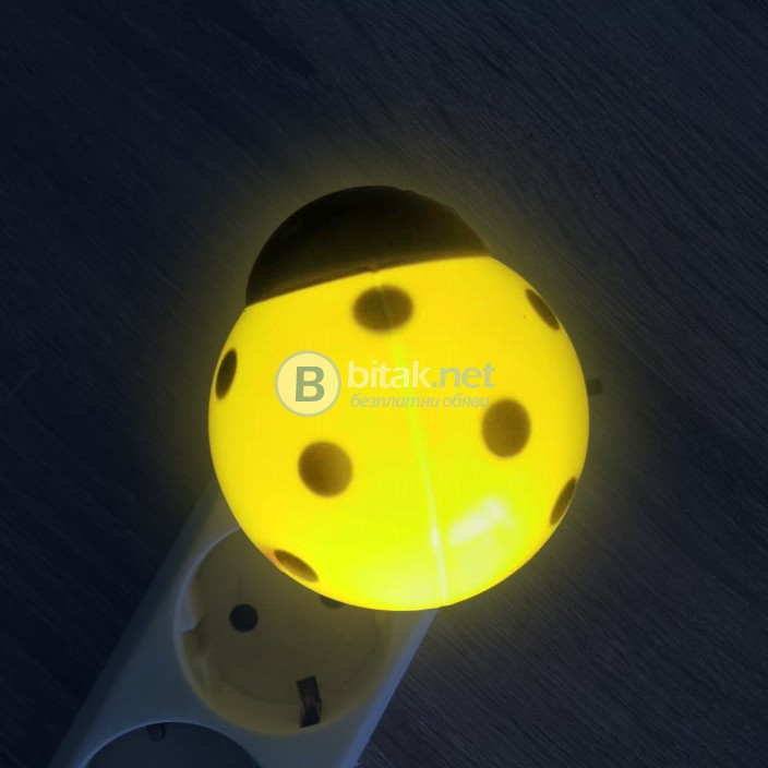 Детска нощна лед лампа за стена Калинка Лампа за контакт с копче 0.5W