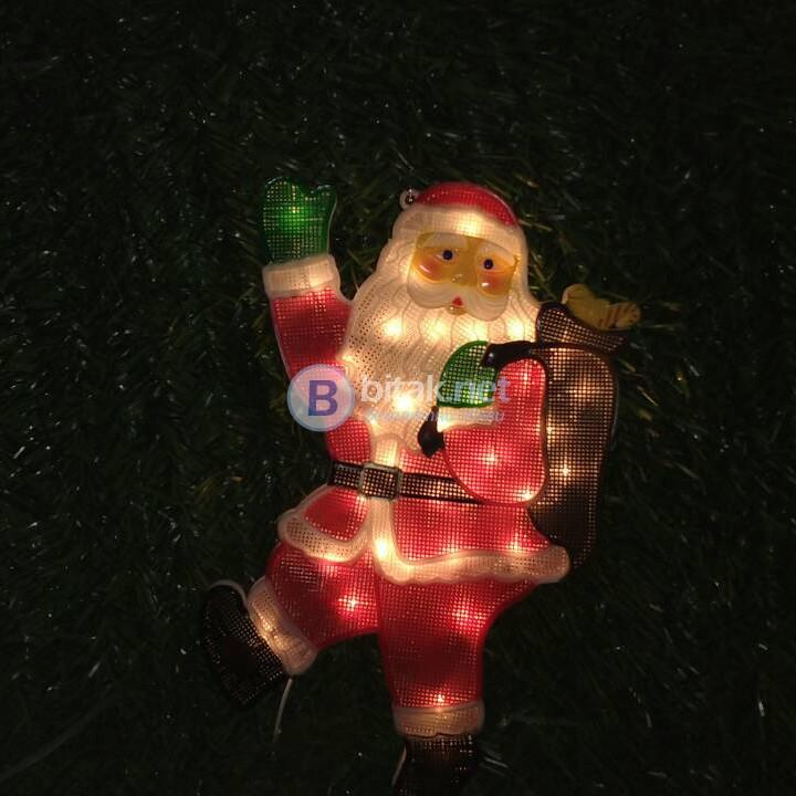 Светещ Дядо Коледа Коледна украса за стена прозорец 44 x 28см