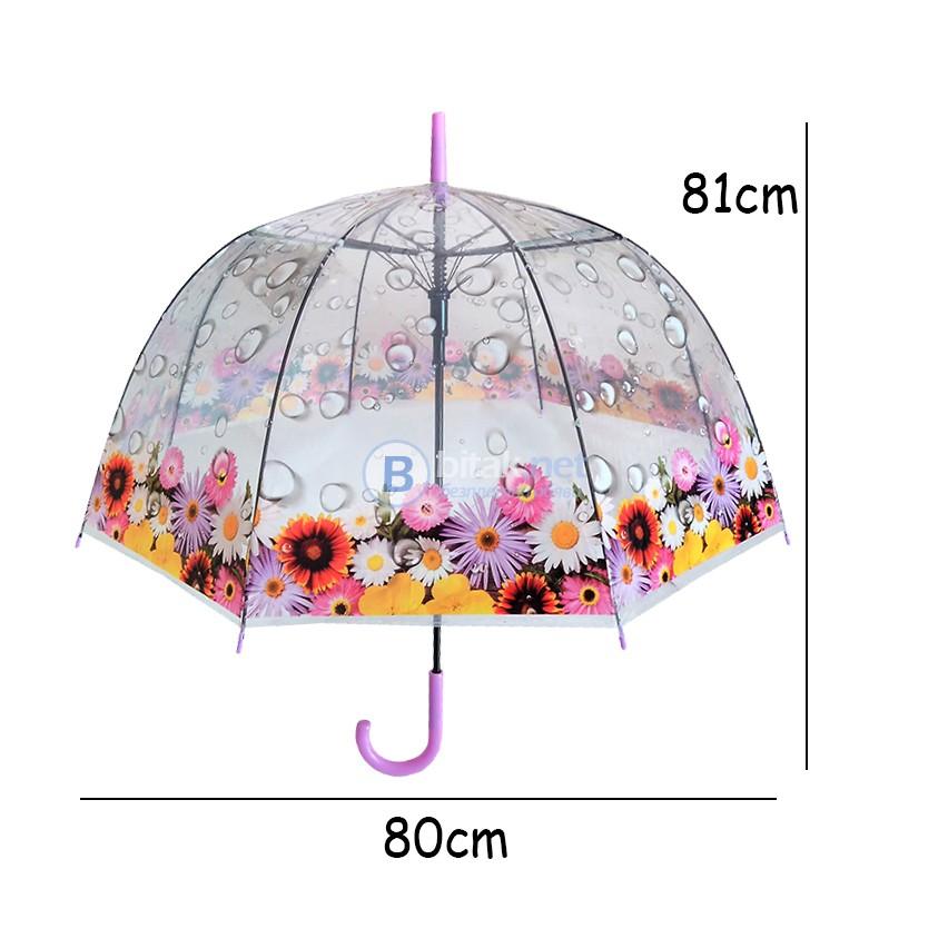 Дамски чадър за дъжд прозрачен с принт на цветя 80см диаметър