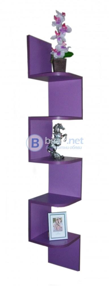 Ъглова етажерка за стена - Виолетова
